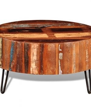Festnight Reclaimed Wood Round Coffee Table With Iron Legs Pure Handmade Living Room Furniture 0 0 300x360