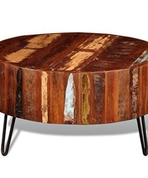 Festnight Reclaimed Wood Round Coffee Table With Iron Legs Pure Handmade Living Room Furniture 0 1 300x360