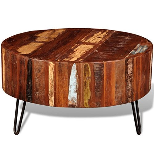 Festnight Reclaimed Wood Round Coffee Table With Iron Legs Pure Handmade Living Room Furniture 0 1