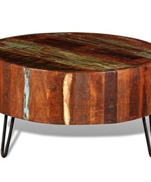 Festnight Reclaimed Wood Round Coffee Table With Iron Legs Pure Handmade Living Room Furniture 0 2 300x360