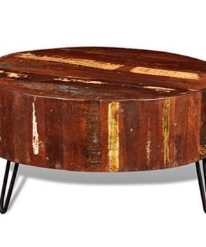 Festnight Reclaimed Wood Round Coffee Table With Iron Legs Pure Handmade Living Room Furniture 0 3 300x360