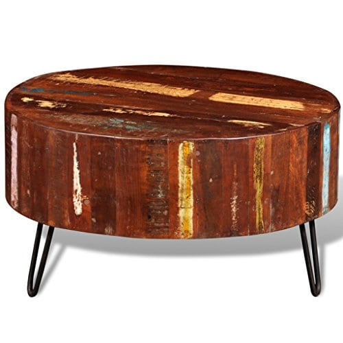 Festnight Reclaimed Wood Round Coffee Table With Iron Legs Pure Handmade Living Room Furniture 0 3