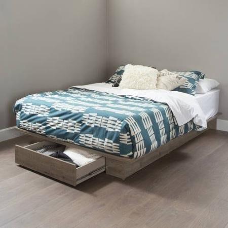 FullQueen Storage Platform Bed And Headboard Rustic Finish 0 0