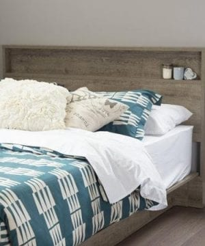 FullQueen Storage Platform Bed And Headboard Rustic Finish 0 1 300x360