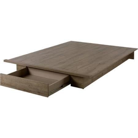FullQueen Storage Platform Bed And Headboard Rustic Finish 0 2