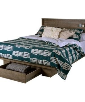 FullQueen Storage Platform Bed And Headboard Rustic Finish 0 300x360