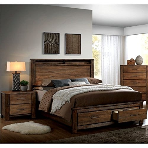 Furniture Of America Nangetti Rustic 2 Piece Queen Bedroom Set In Oak 0