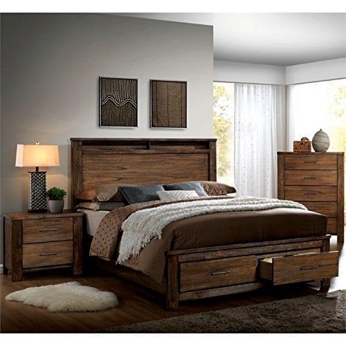 Furniture Of America Nangetti Rustic 3 Piece Queen Bedroom Set In Oak 0