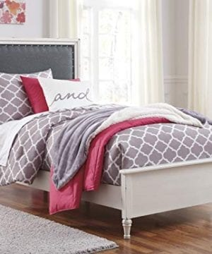 FurnitureMaxx Haslev Chipped White Wood Twin Bed Dresser Mirror 2 Nightstands 0 0 300x360