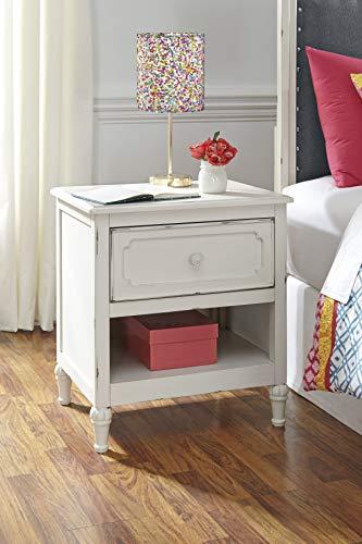 FurnitureMaxx Haslev Chipped White Wood Twin Bed Dresser Mirror 2 Nightstands 0 2