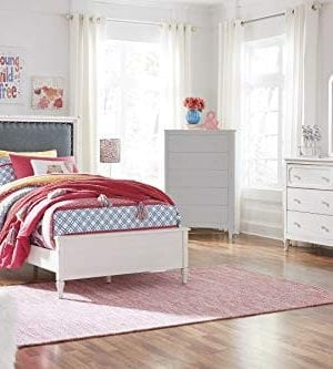 FurnitureMaxx Haslev Chipped White Wood Twin Bed Dresser Mirror 2 Nightstands 0 300x333