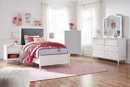 FurnitureMaxx Haslev Chipped White Wood Twin Bed Dresser Mirror 2 Nightstands 0