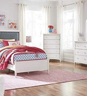 FurnitureMaxx Haslev Chipped White Wood Twin Bed Dresser Mirror Nightstand And Chest 0 300x333