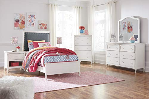FurnitureMaxx Haslev Chipped White Wood Twin Bed Dresser Mirror Nightstand And Chest 0