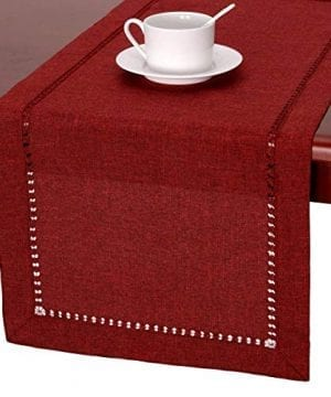 GRELUCGO Handmade Hemstitched Polyester Rectangle Table Runners 0 300x360