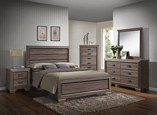 GTU Furniture Lyndon Pc Weathered Grey Panel Bedroom Set 0