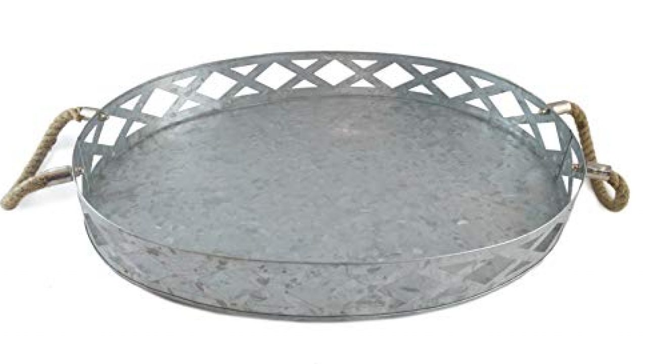 Galvanized Metal Tray Farmhouse Rustic Large Oval Round Outdoor Serving Tray 18x 13 5 X 2 5 Rustic Farmhouse Decor By Farmhouse Goals