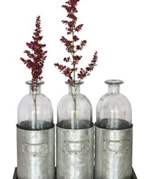 Glass Vases Metal Sitting Holder For Table Top Tall Tin Box Triple Vase Galvanized Milk Bottle 12 Inches By Urban Legacy 0 300x360