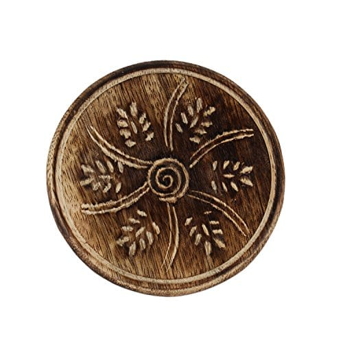 GoCraft Handmade Wood Drink Coasters Sets With Holder Set Of 6 In A Lotus Shaped Holder With Rustic Design 0 0