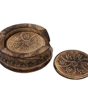 GoCraft Handmade Wood Drink Coasters Sets With Holder Set Of 6 In A Lotus Shaped Holder With Rustic Design 0 1 300x360