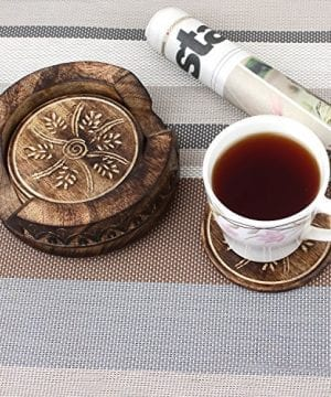GoCraft Handmade Wood Drink Coasters Sets With Holder Set Of 6 In A Lotus Shaped Holder With Rustic Design 0 3 300x360