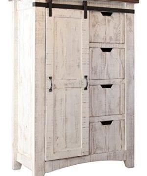 Greenview Barndoor Dresser With 4 Shelves And 4 Drawers White 0 300x360