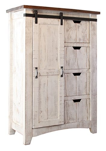 Greenview Barndoor Dresser With 4 Shelves And 4 Drawers White 0