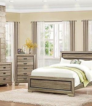 HEFX Furniture Bainbridge Panel California King Bedroom Set In Rustic Beechwood 0 300x346