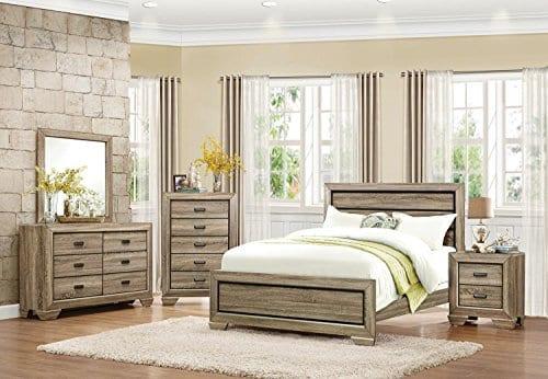 HEFX Furniture Bainbridge Panel California King Bedroom Set In Rustic Beechwood 0