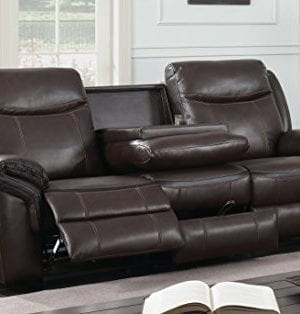 HOMES Inside Out IDF 6297 SF Sienna Transitional Leather Sofa With 2 Recliners 0 0 300x314