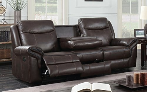 HOMES Inside Out IDF 6297 SF Sienna Transitional Leather Sofa With 2 Recliners 0 0