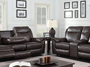 HOMES Inside Out IDF 6297 SF Sienna Transitional Leather Sofa With 2 Recliners 0 1 300x225