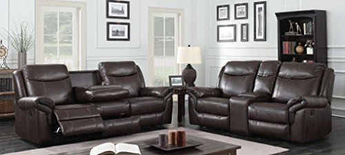 HOMES Inside Out IDF 6297 SF Sienna Transitional Leather Sofa With 2 Recliners 0 1