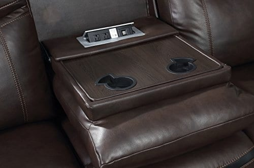 HOMES Inside Out IDF 6297 SF Sienna Transitional Leather Sofa With 2 Recliners 0 2