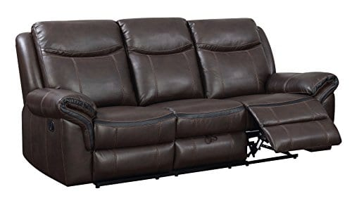 HOMES Inside Out IDF 6297 SF Sienna Transitional Leather Sofa With 2 Recliners 0