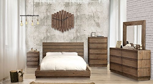 HOMES Inside Out IDF 7623Q Leisa Bedell Rustic Natural Tone Low Profile Bed Queen 0 0