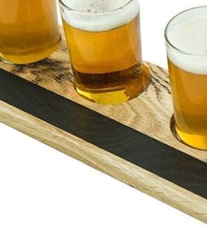 Handmade Deluxe Professional Charred Oak Barrel Beer Or Whiskey Flight With Chalkboard 5 Piece 0 0 300x360