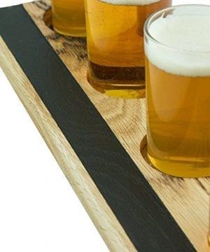 Handmade Deluxe Professional Charred Oak Barrel Beer Or Whiskey Flight With Chalkboard 5 Piece 0 1 300x360