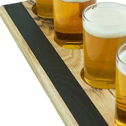 Handmade Deluxe Professional Charred Oak Barrel Beer Or Whiskey Flight With Chalkboard 5 Piece 0 1