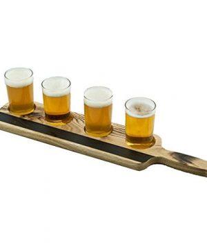 Handmade Deluxe Professional Charred Oak Barrel Beer Or Whiskey Flight With Chalkboard 5 Piece 0 300x360
