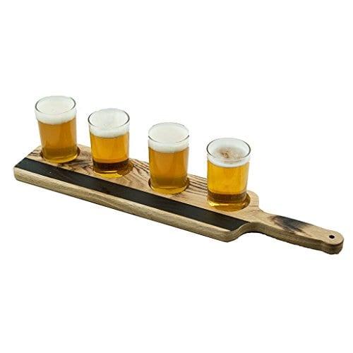Handmade Deluxe Professional Charred Oak Barrel Beer Or Whiskey Flight With Chalkboard 5 Piece 0