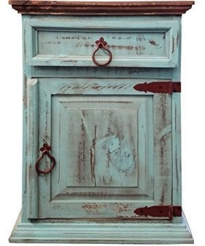 Handscrape Rustic Western Country Nightstand End Table Already Assembled Right Hinged Aqua 0 300x360