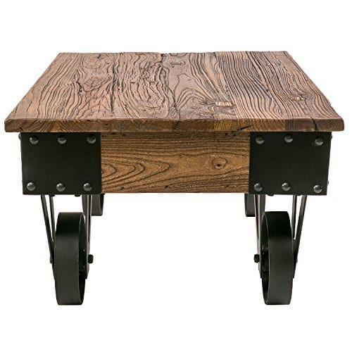 Industrial Solid Wood Coffee Table Rustic Metal Wheels Country Accent Shelf US