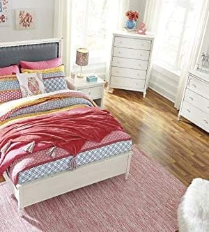 Haslev Chipped White Wood Full Bed Dresser Mirror Nightstand And Chest 0 0 300x333