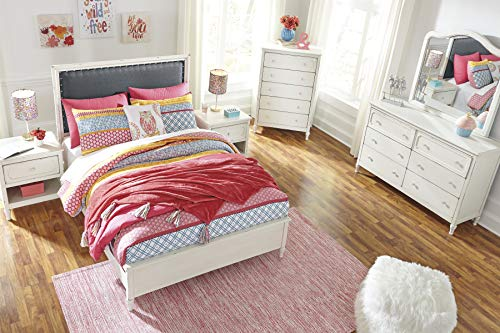 Haslev Chipped White Wood Full Bed Dresser Mirror Nightstand And Chest 0 0