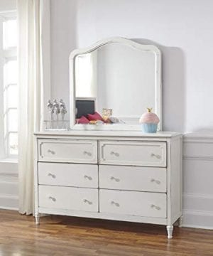 Haslev Chipped White Wood Full Bed Dresser Mirror Nightstand And Chest 0 3 300x360