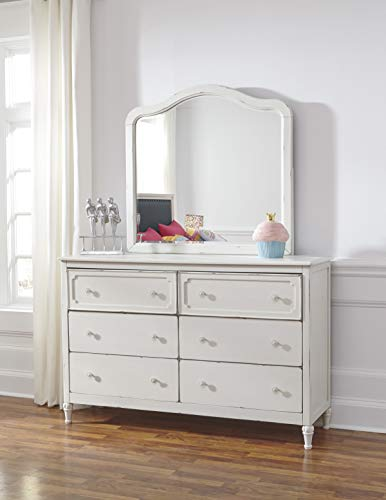 Haslev Chipped White Wood Full Bed Dresser Mirror Nightstand And Chest 0 3