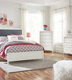 Haslev Chipped White Wood Full Bed Dresser Mirror Nightstand And Chest 0 300x333