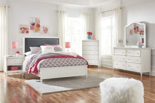 Haslev Chipped White Wood Full Bed Dresser Mirror Nightstand And Chest 0