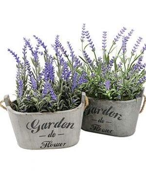 Heart To HeartButterfly Craze Purple Silk Floral Arrangements Faux Lavender Flower Plant Home Office Dcor 2 Pc Set 0 300x360